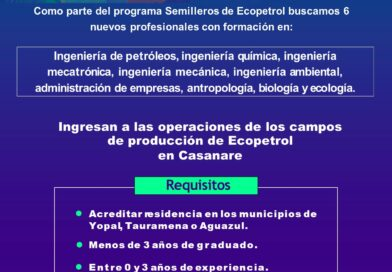 Ecopetrol busca 6 jóvenes profesionales para trabajar en sus operaciones en Casanare